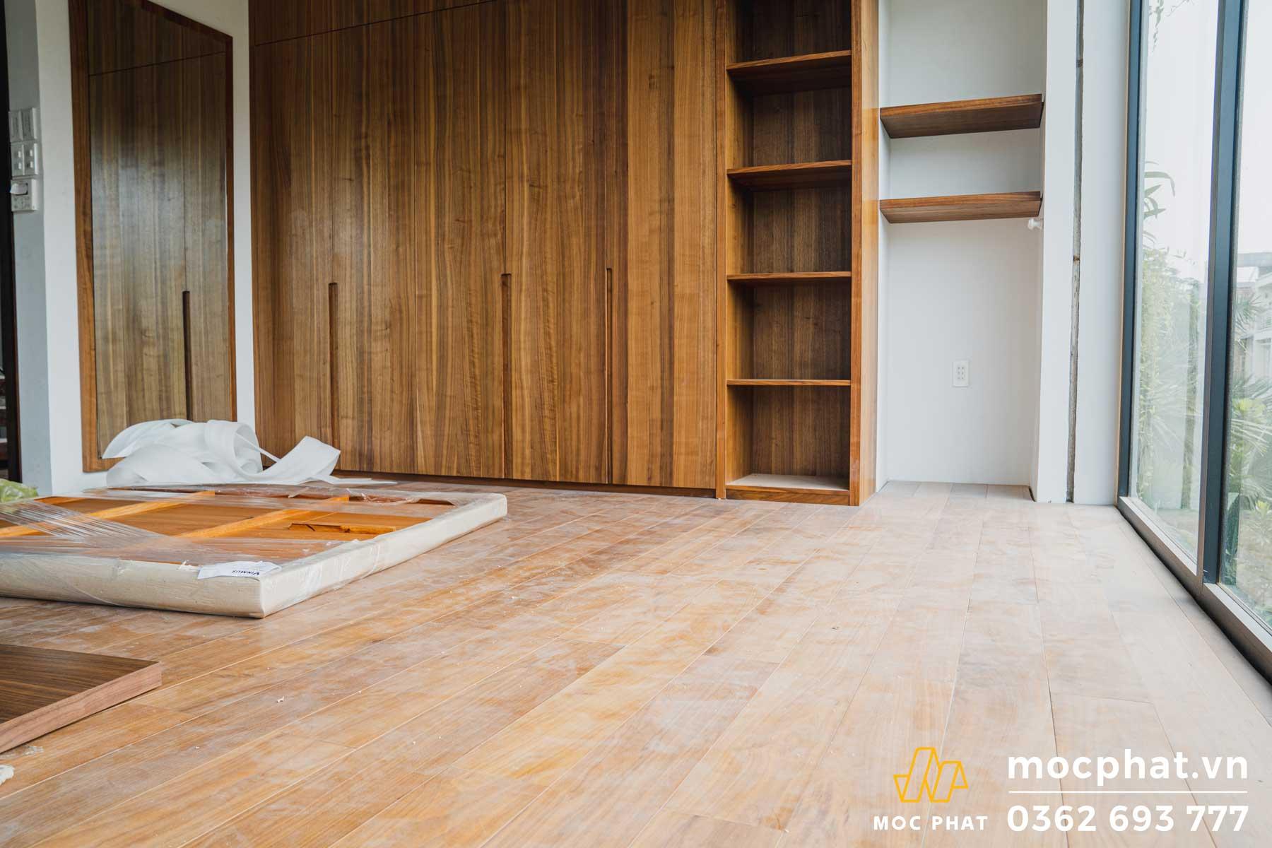 Hình ảnh hoàn thành công trình thi công sàn gỗ trong nhà