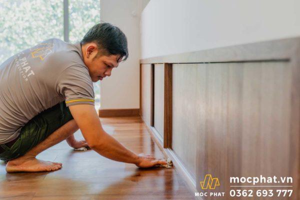 hình ảnh thi công sàn gỗ Mộc Phát