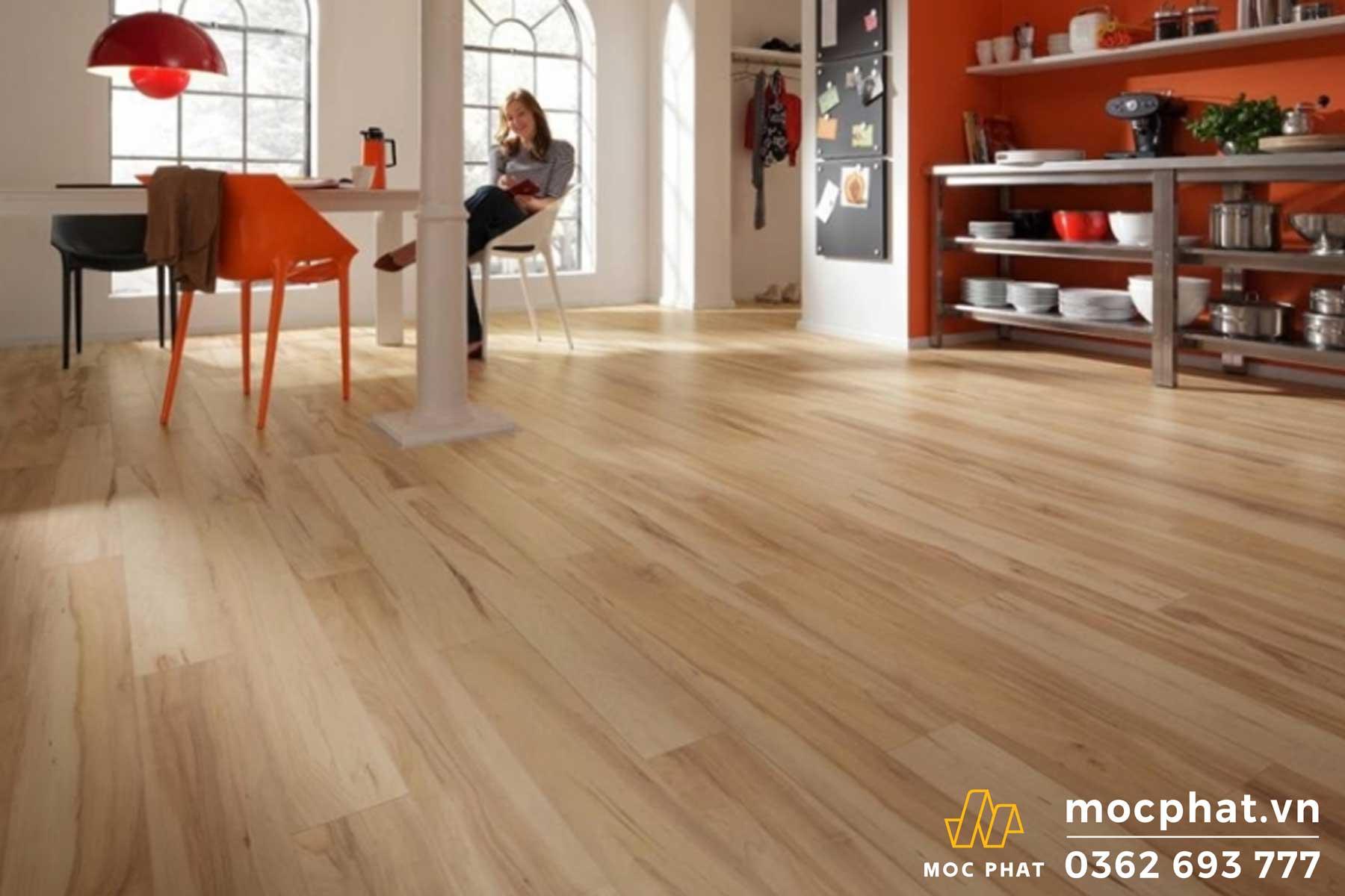 Sàn gỗ MDF phủ laminate đem lại sự sang trọng, hiện đại cho ngôi nhà