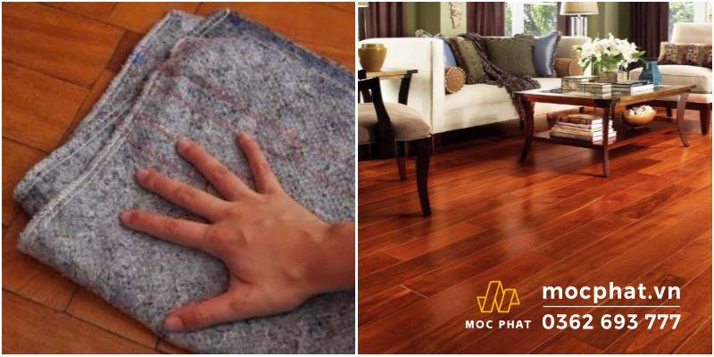 Lau bằng khăn mềm - Cách xử lý sàn gỗ bị thấm nước hiệu quả