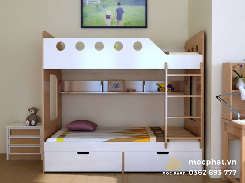 Giường ngủ tầng làm bằng gỗ