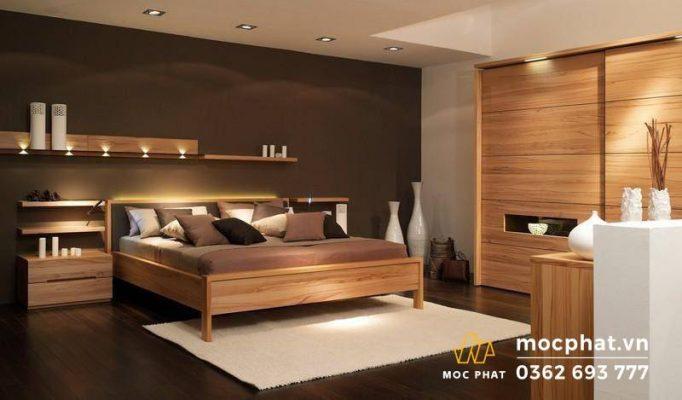 Phòng ngủ hiện đại sử dụng nội thất gỗ công nghiệp