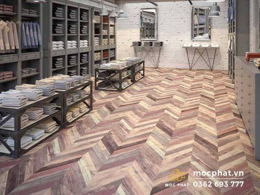 Không gian lắp sàn gỗ xương cá