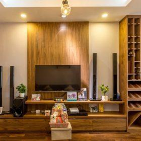 Phòng khách nội thất gỗ óc chó