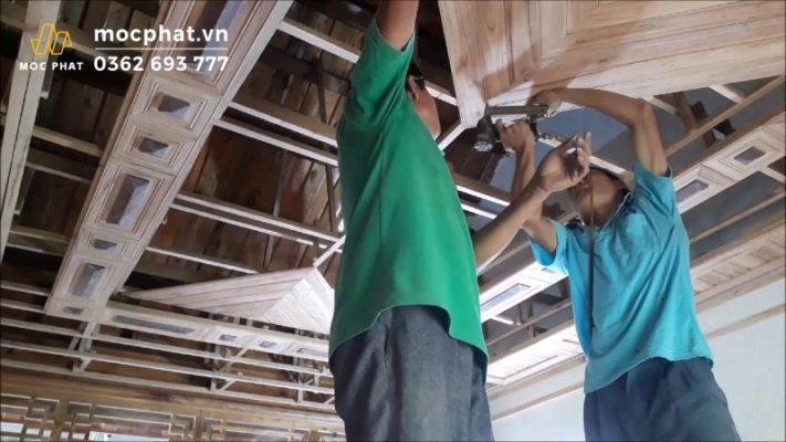 Thi công trần gỗ tự nhiên