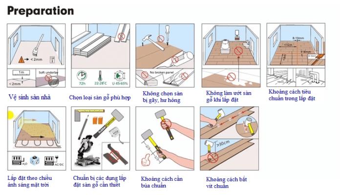 Các bước chuẩn bị lắp đặt sàn gỗ