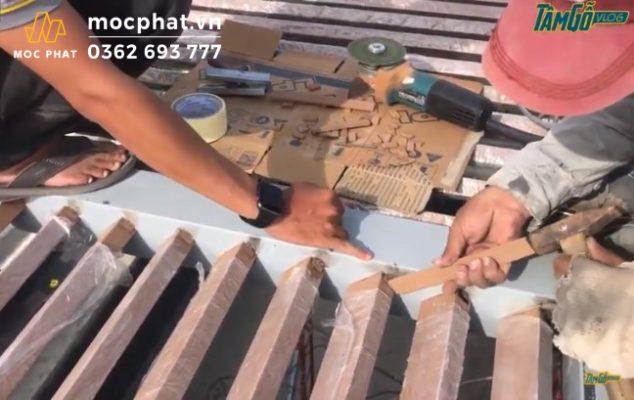 Hình 9 - Sử dụng lớp gỗ nhựa để vá lại vị trí mổ ngàm trước đó