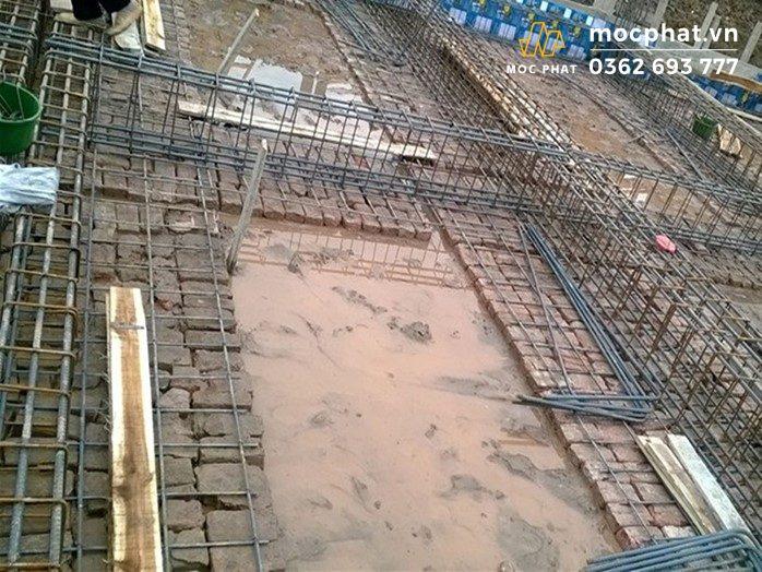 Hình ảnh phần móng sau khi đặt phần cốt thép để chuẩn bị đổ bê tông