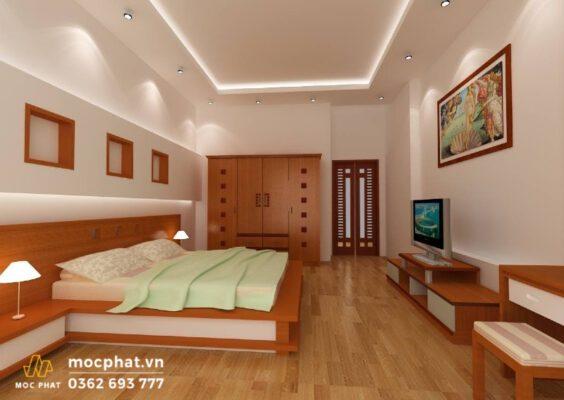 Sắp xếp giường ngủ chính giữa, tránh đối diện với cửa ra vào