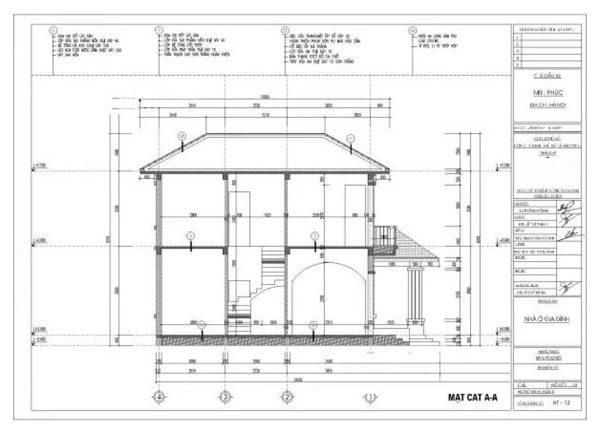 Bản vẽ mặt cắt của một ngôi nhà 2 tầng