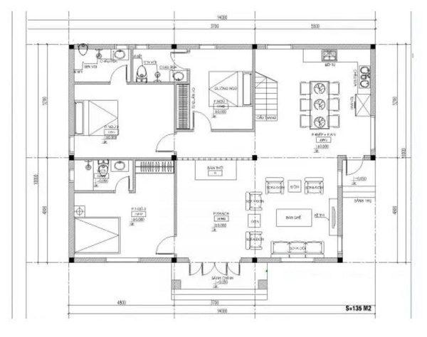 Bản vẽ mặt bằng của một ngôi nhà