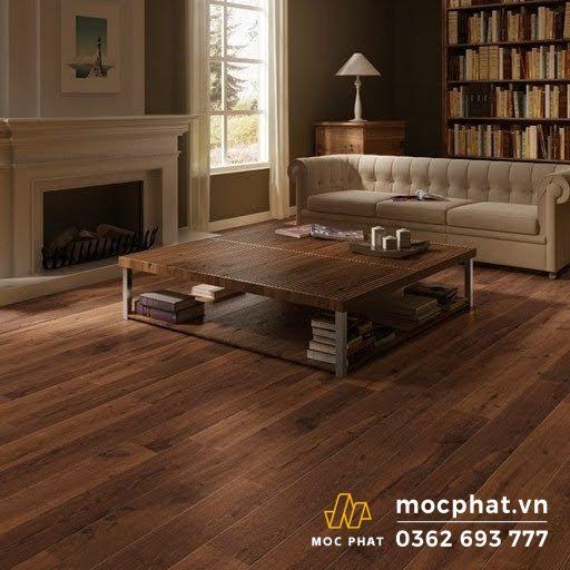 Sàn gỗ công nghiệp màu óc chó được sử dụng lát sàn