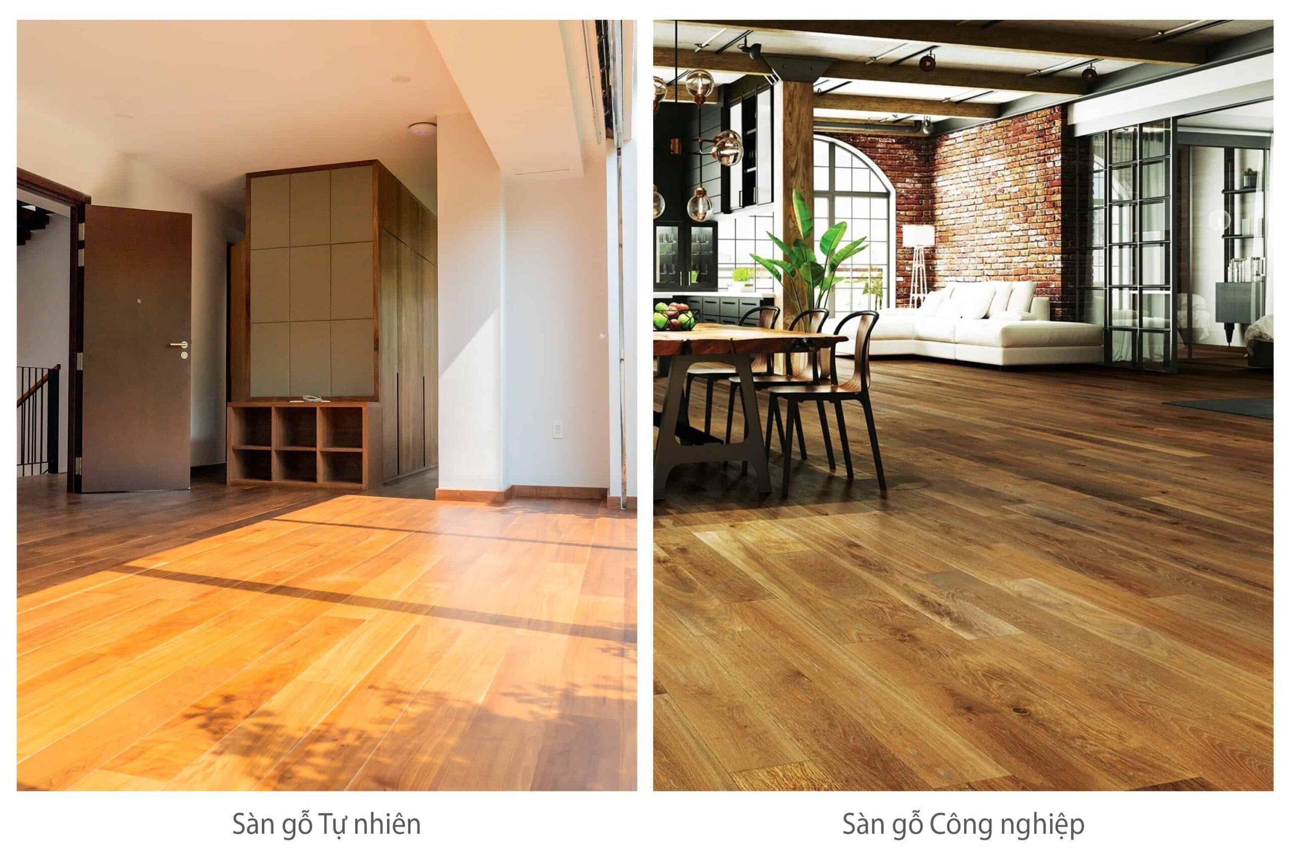 Hình ảnh sàn gỗ tự nhiên và sàn gỗ công nghiệp
