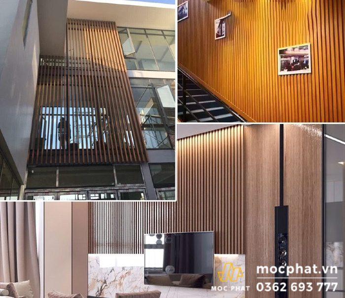 Vách nhựa giả gỗ được ứng dụng trong nhiều trong thiết kế nhà ở và văn phòng làm việc
