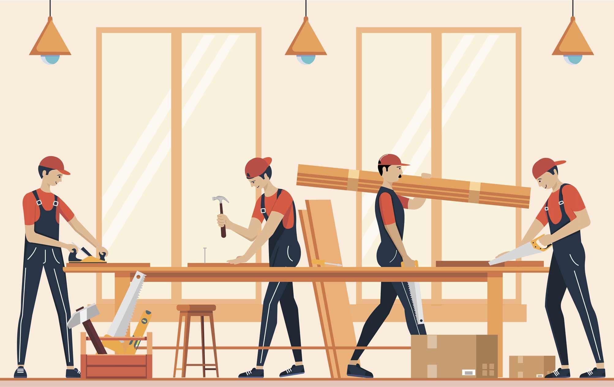 Hình minh họa gia công sàn gỗ