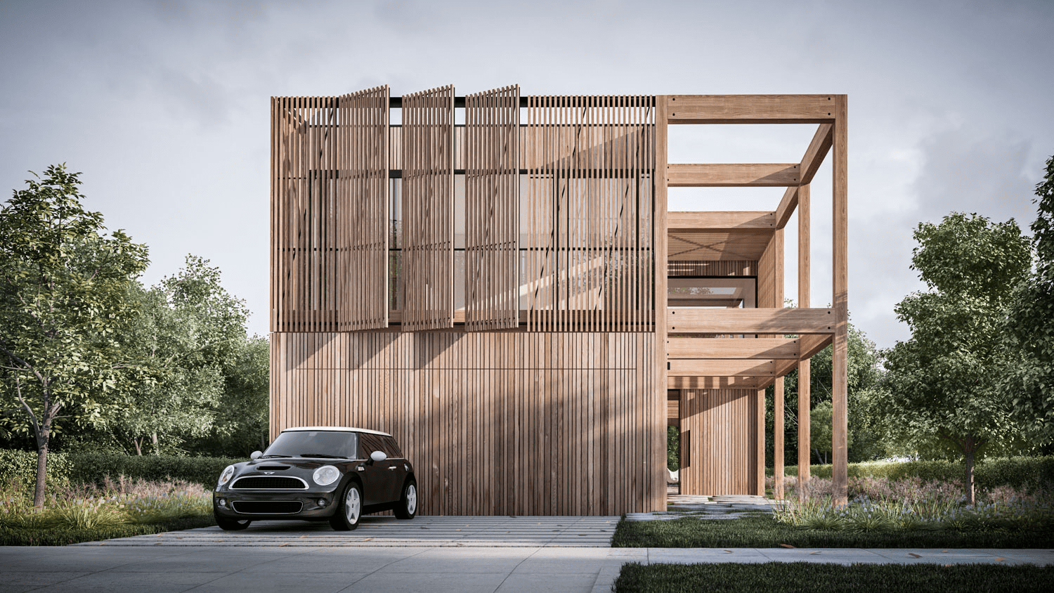 Lam gỗ thanh dọc trong thiết kế The Frame House của Auhaus Architecture