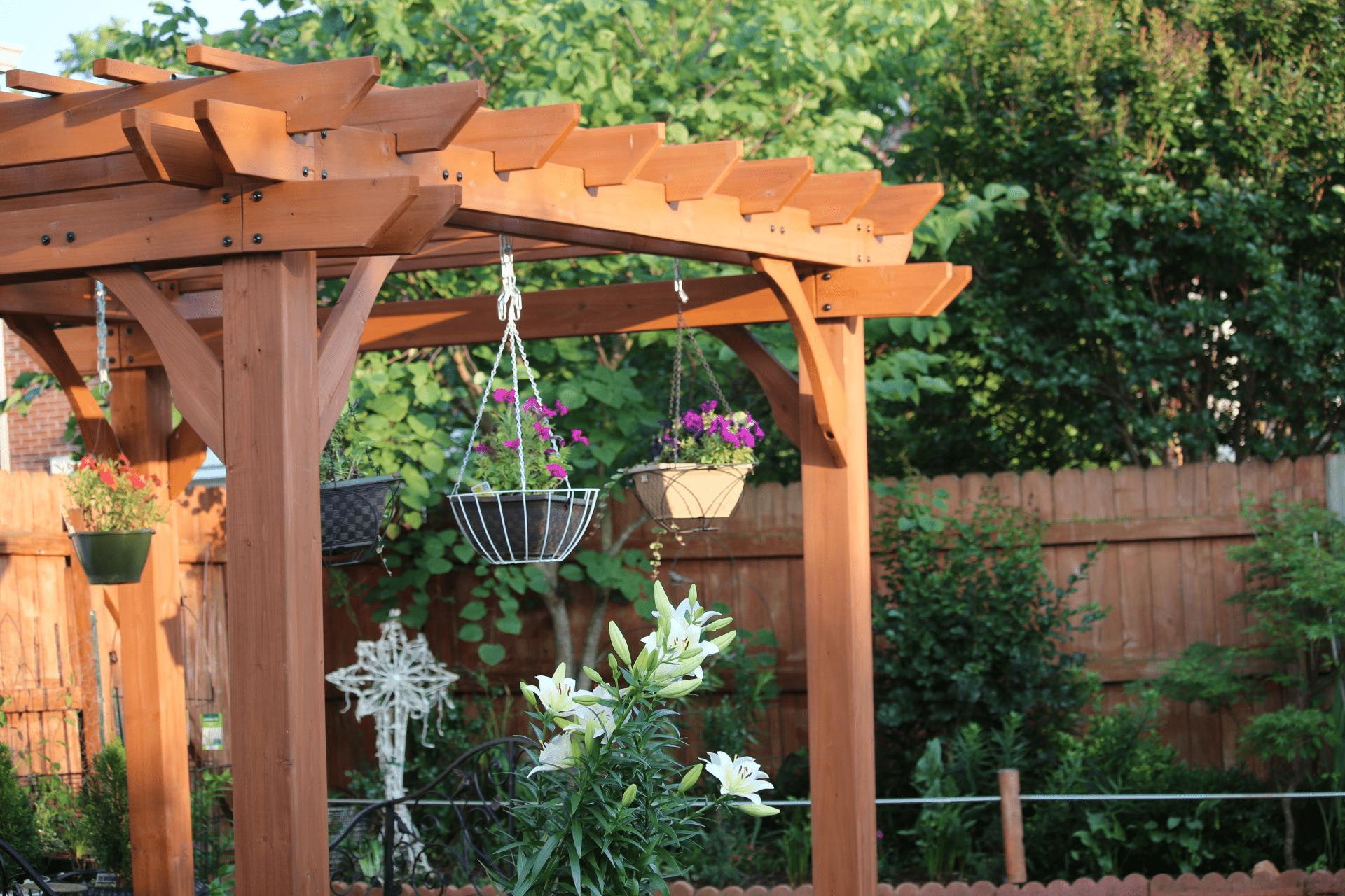 Lam gỗ ngoài trời với cây cối